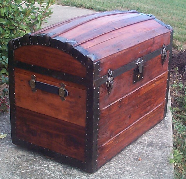 restored victorian all wood dometop or dome top antique trunk for sale 710