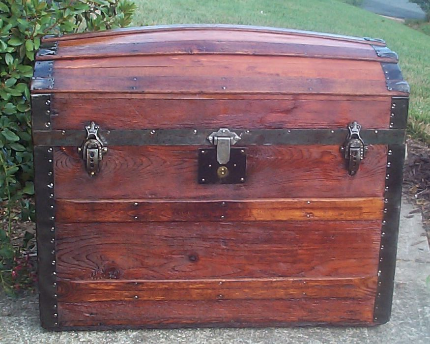restored all wood dometop humpback or dome top antique trunk for sale 710