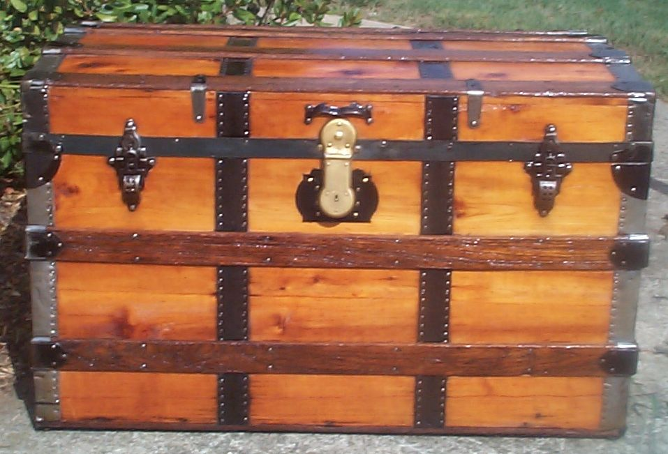 restored all wood roll top antique trunk for sale 711