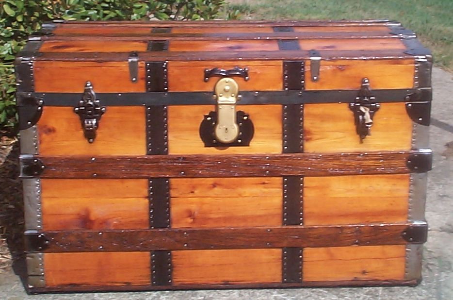 restored victorian all wood roll top antique trunk for sale 711