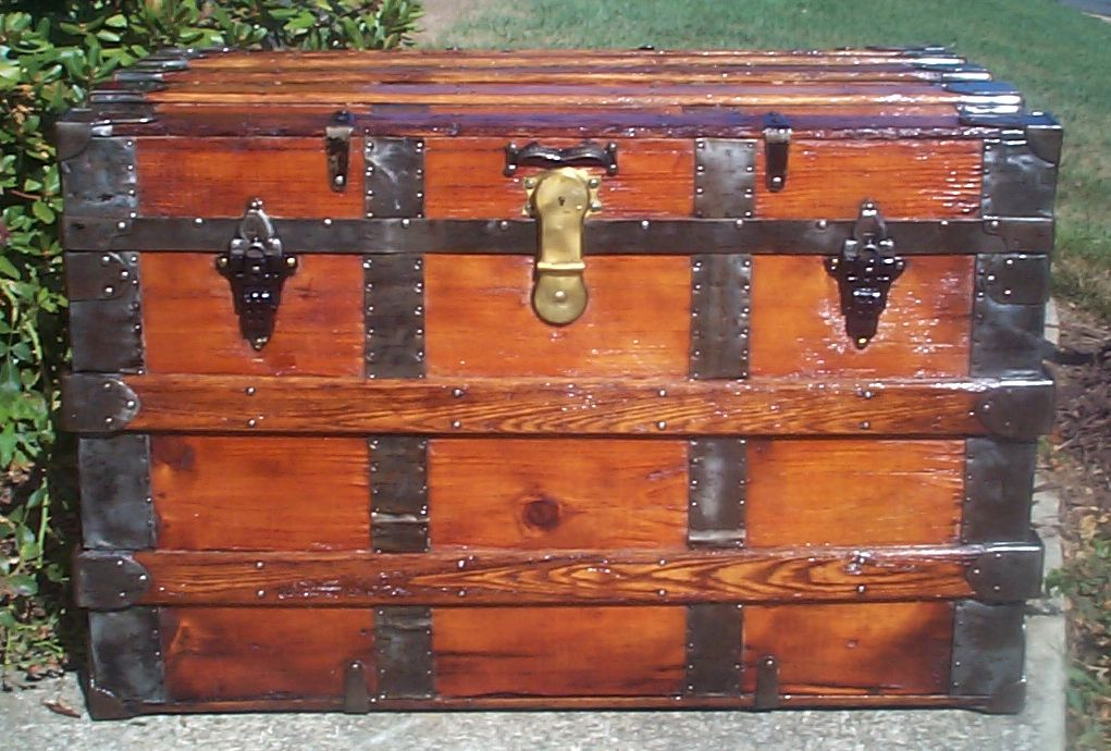 restored all wood flat top antique trunk for sale 712