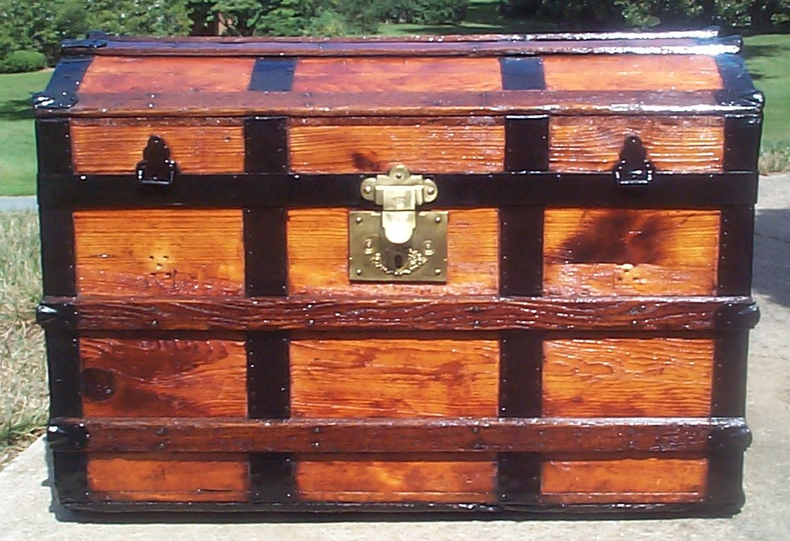 restored all wood dome top antique trunk for sale 713