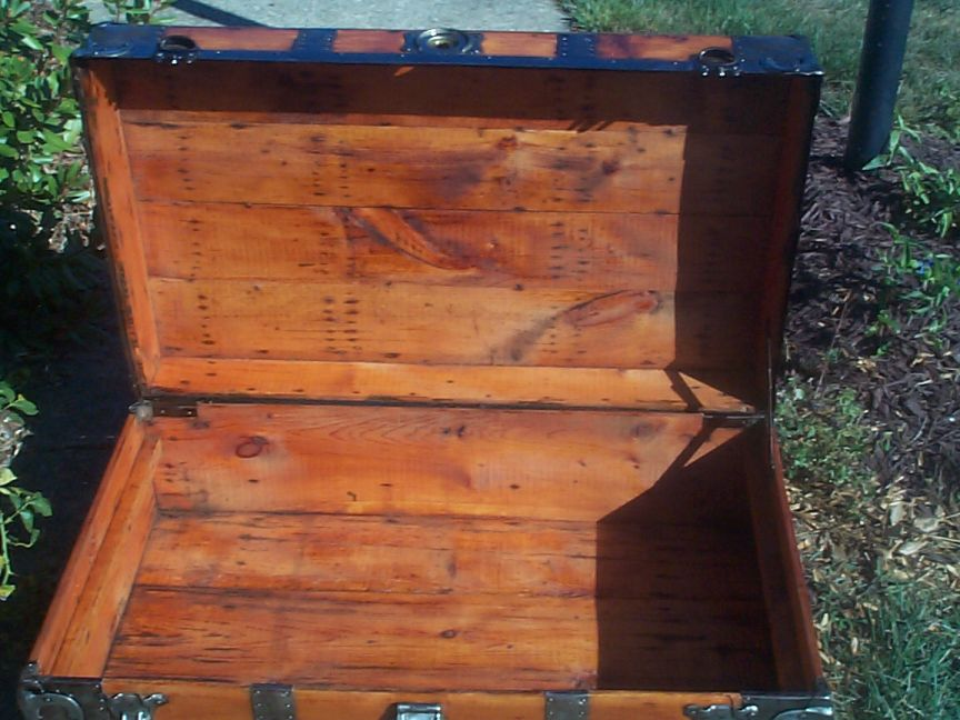 restored victorian all wood low profile roll top antique trunk for sale 714