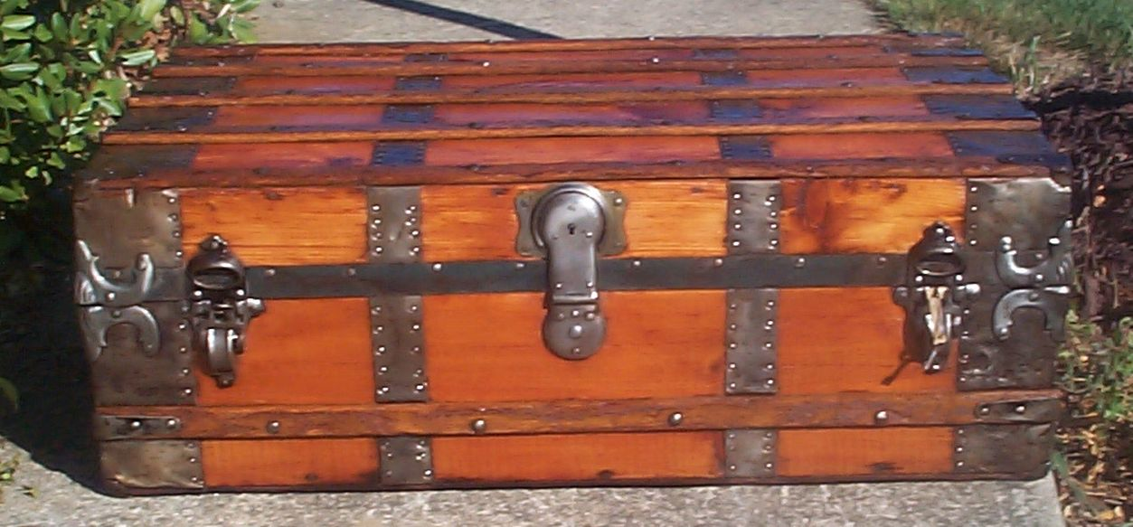 restored all wood low profile roll top antique trunk for sale 714