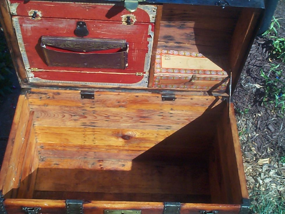 restored victorian all wood dometop dome top humpback antique trunk for sale 715