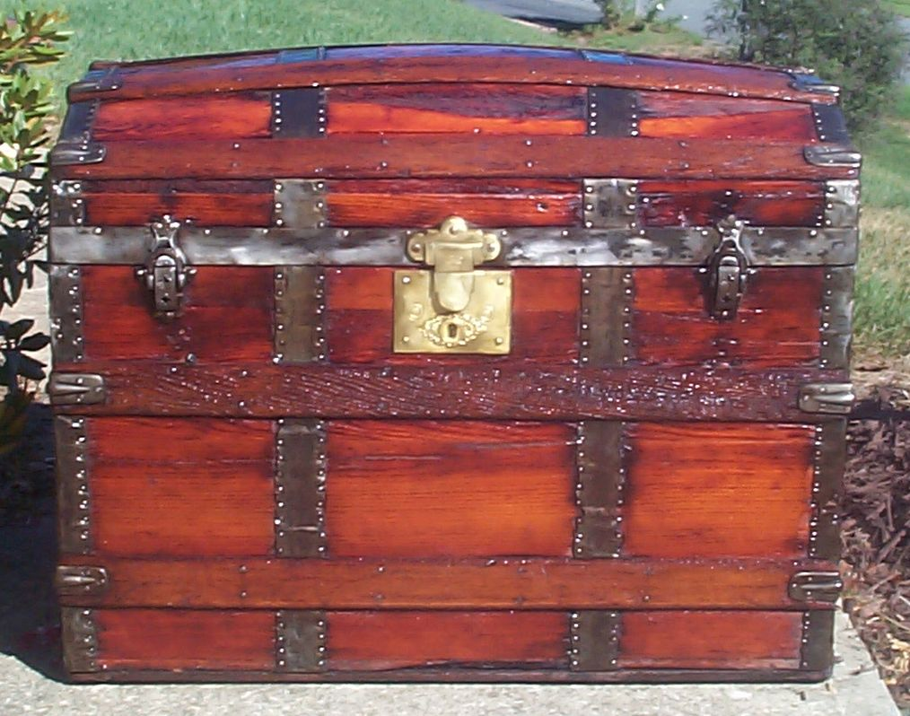 restored all wood dome top antique trunk for sale 715