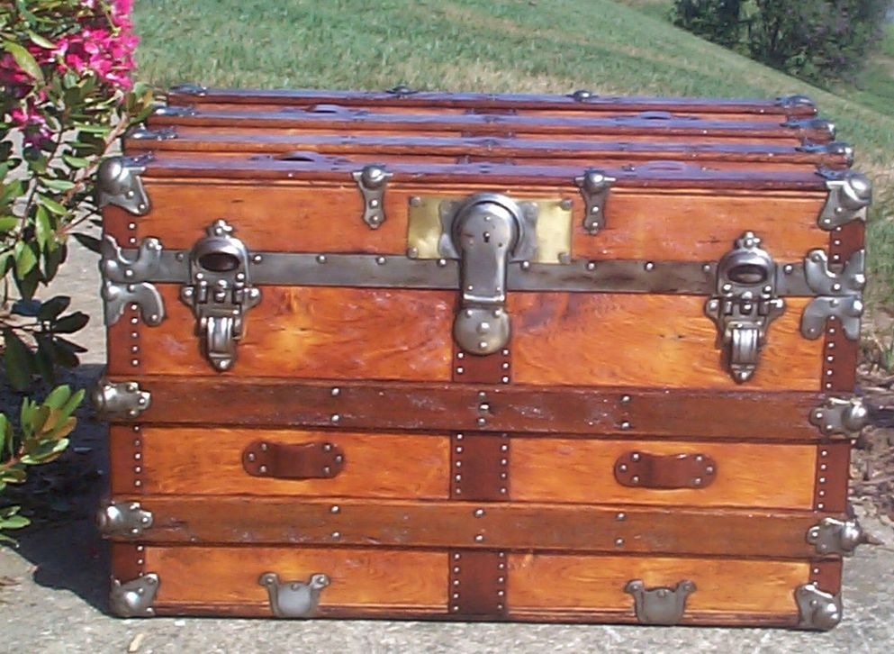 restored all wood flat top antique trunk for sale 716