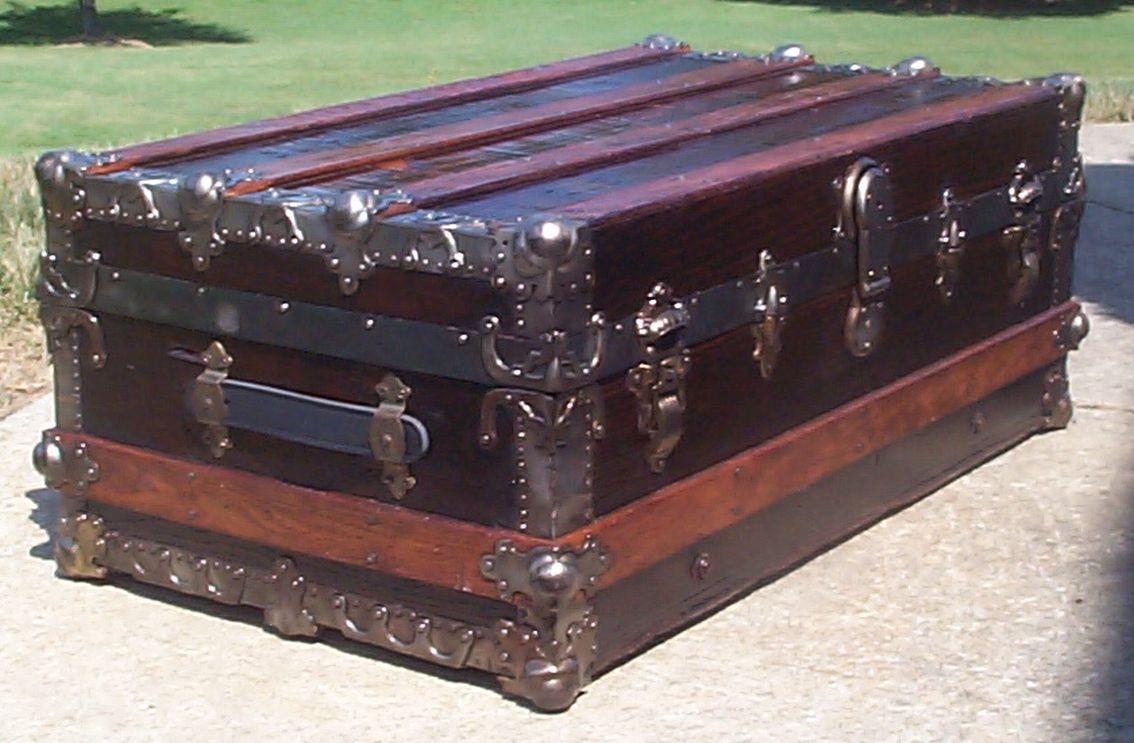 restored victorian all wood roll top antique trunk for sale 717