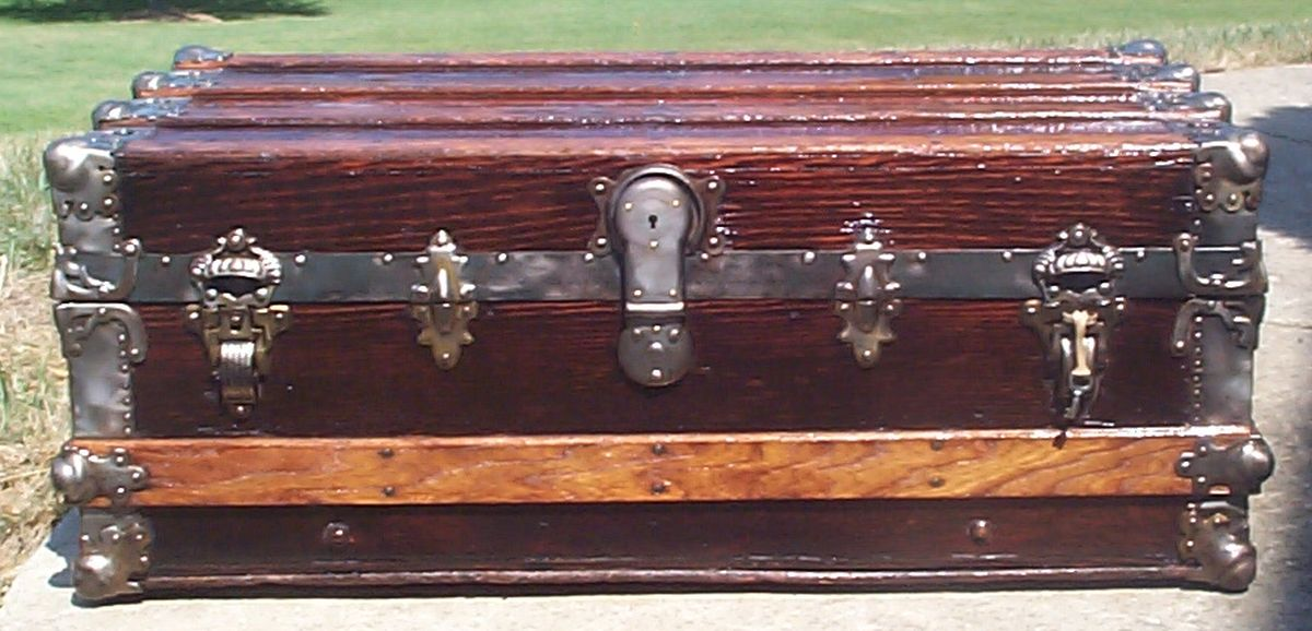 restored all wood roll top antique trunk for sale 717