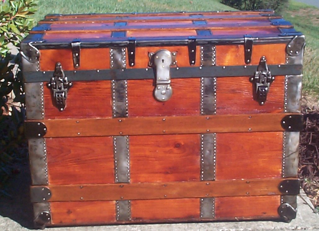restored all wood roll top antique trunk for sale 718
