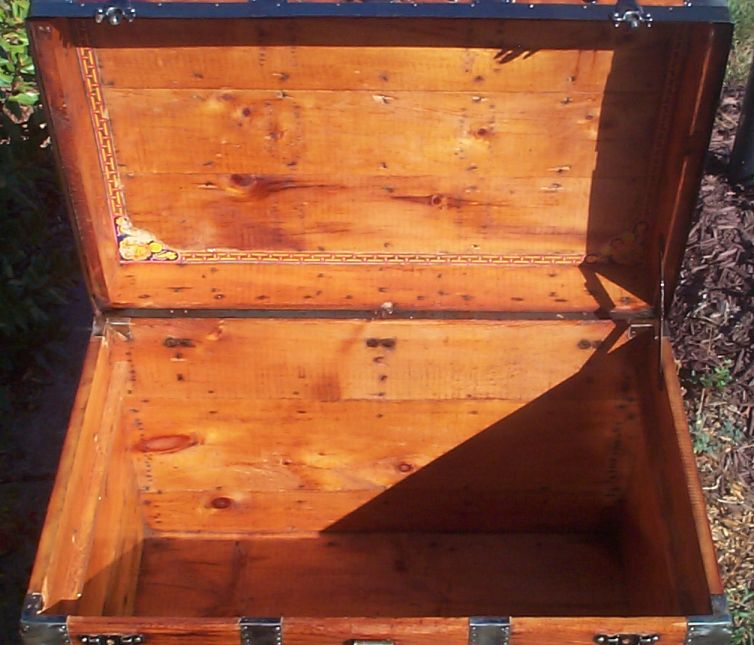 restored victorian all wood roll top antique trunk for sale 718