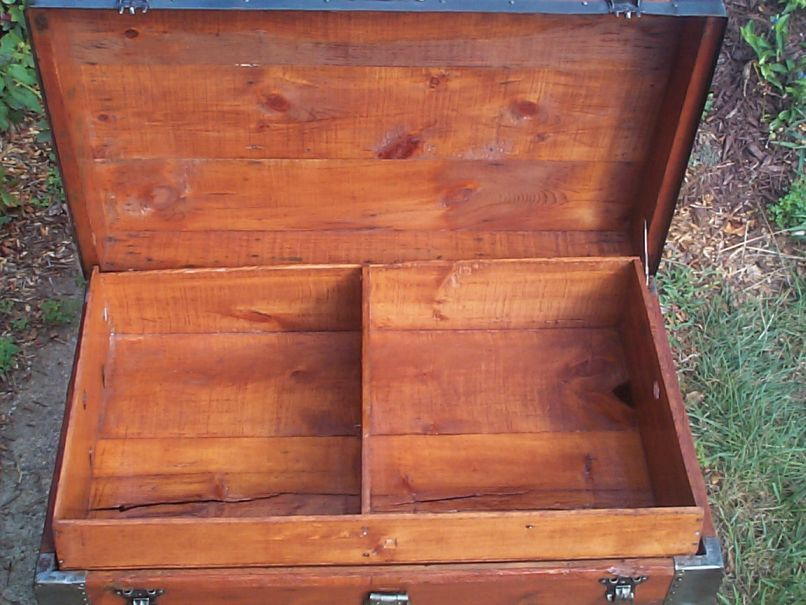 restored victorian all wood flat top antique trunks for sale 719