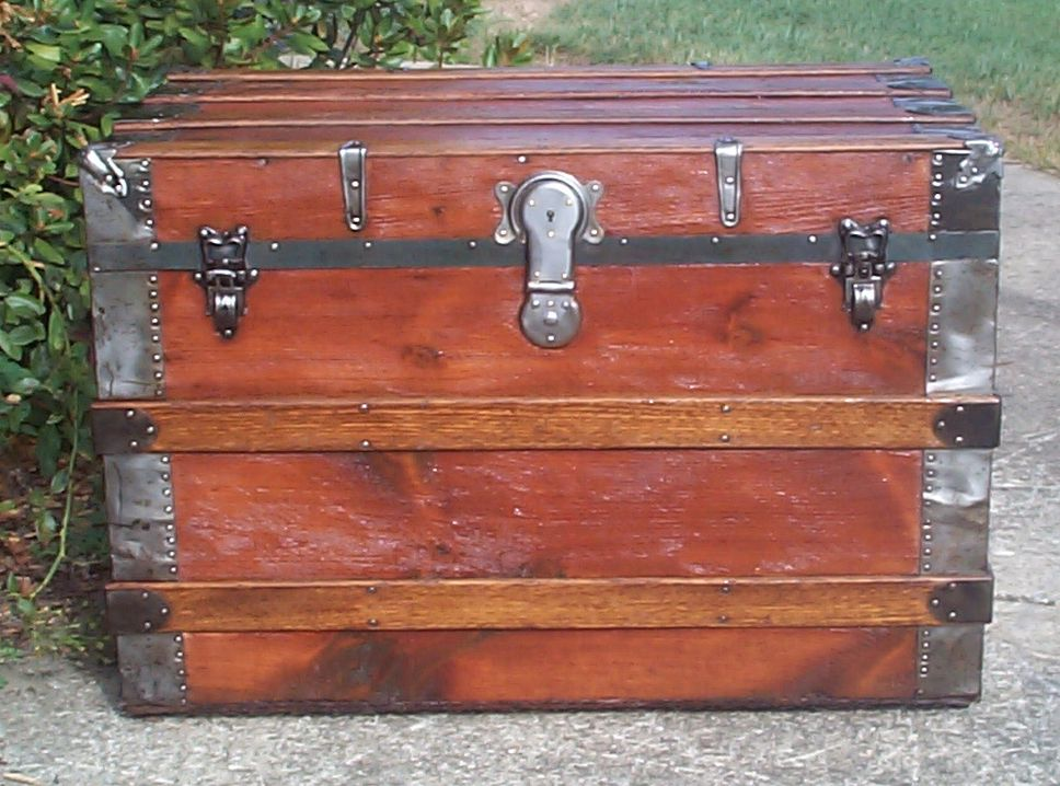 restored all wood flat top antique trunk for sale 719