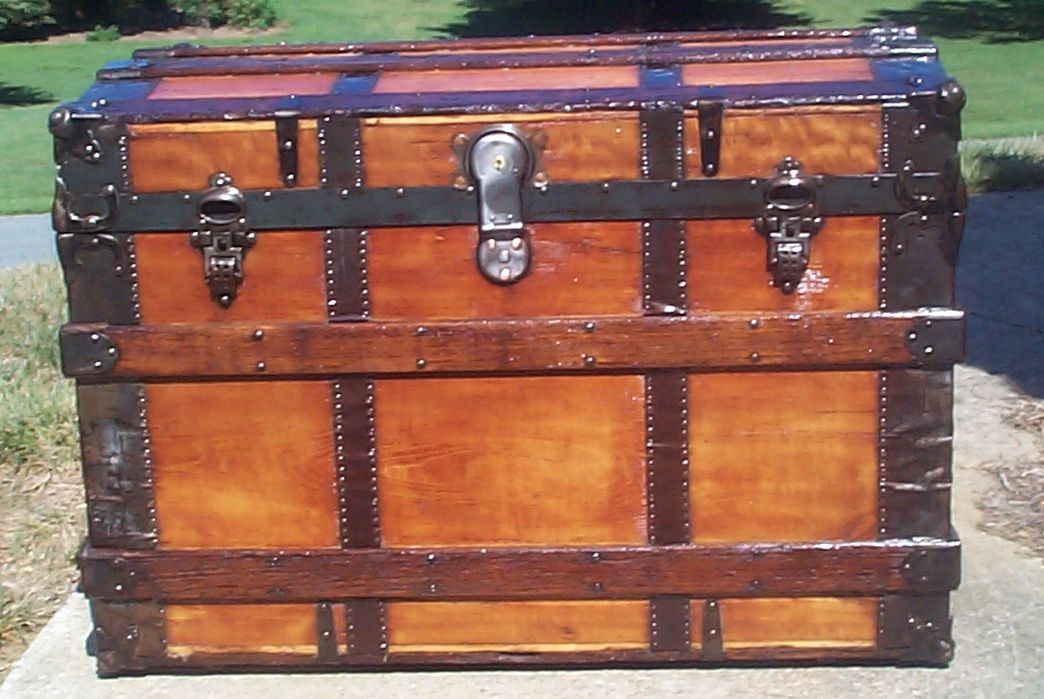 restored all wood roll top antique trunk for sale 720