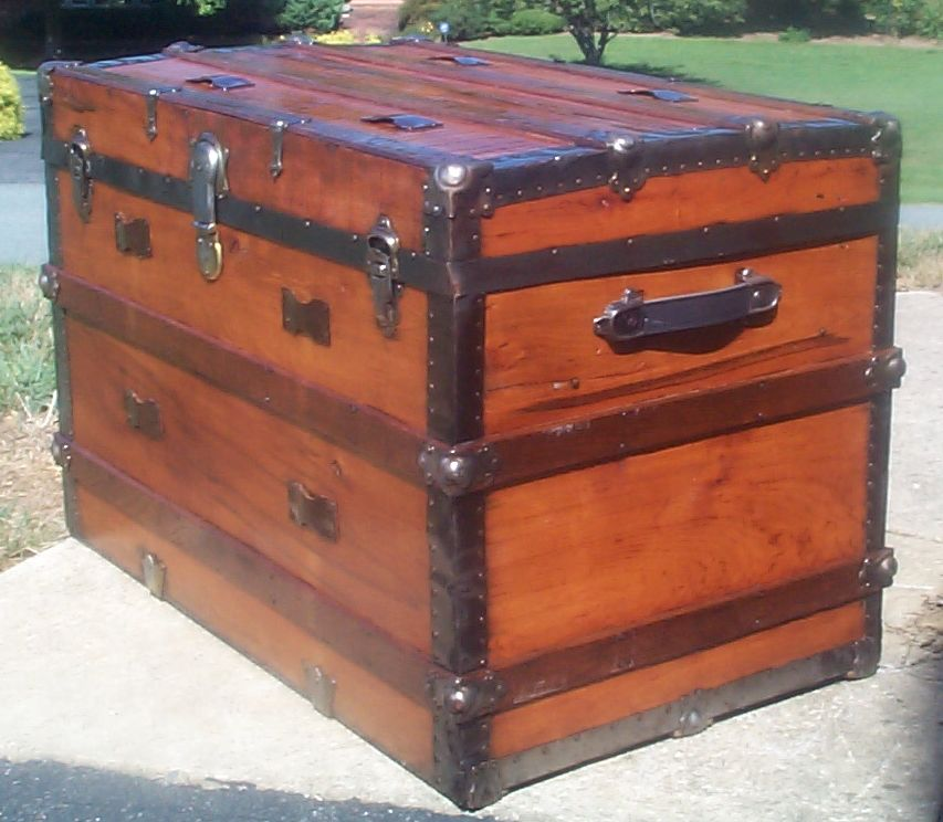 restored victorian all wood flat top antique trunks for sale 721