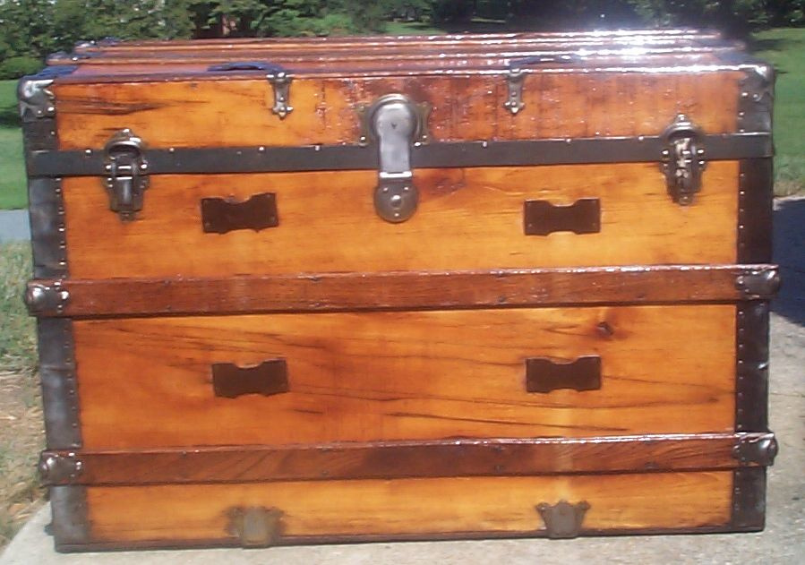 restored all wood flat top antique trunk for sale 721