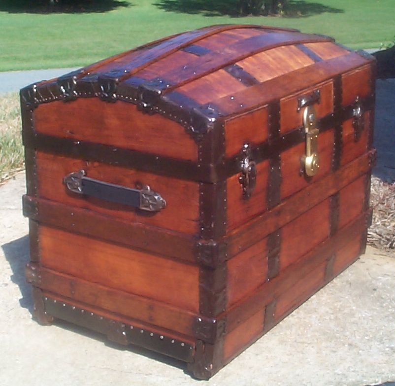 restored victorian all wood dome top antique trunks for sale 722