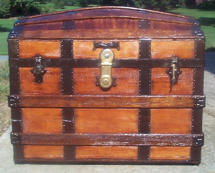 restored all wood dome top antique trunk for sale 722