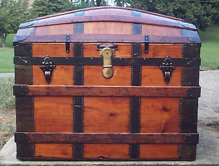 restored all wood dome top antique trunk for sale 723