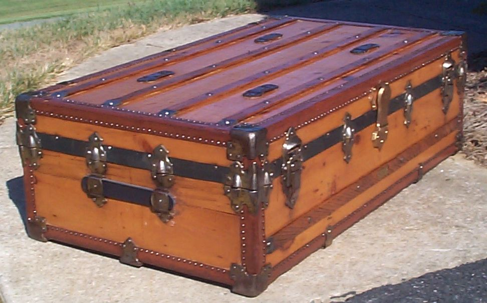 restored victorian all wood low profile roll top antique trunk for sale 724