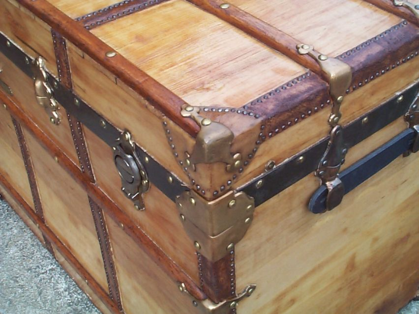 restored victorian all wood flat top antique trunks for sale 725