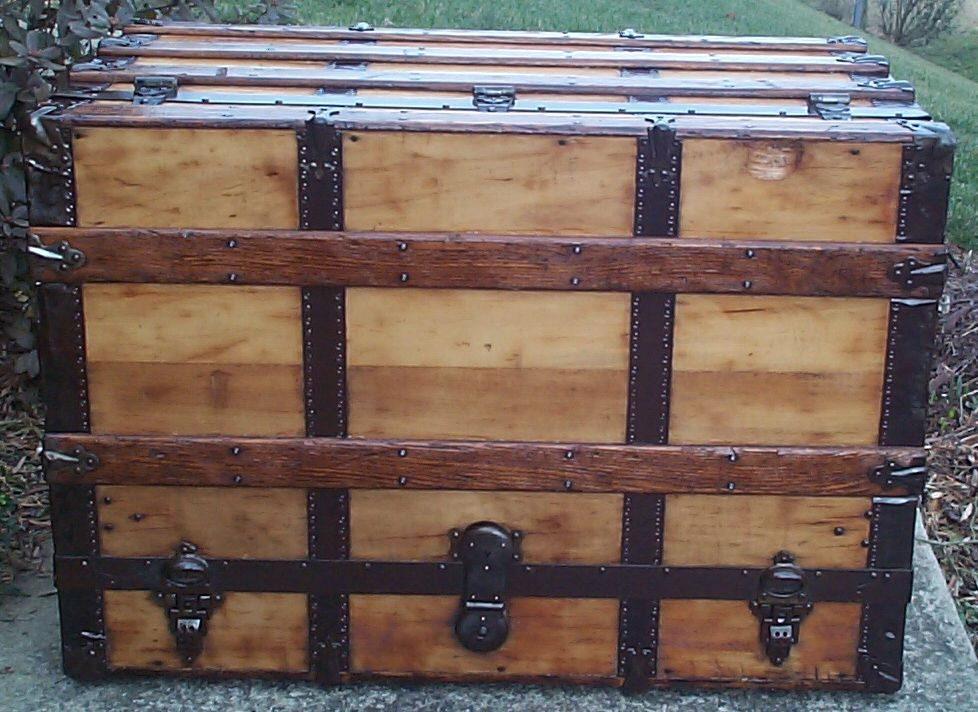 restored all wood flat top antique Theatrical trunk for sale 726