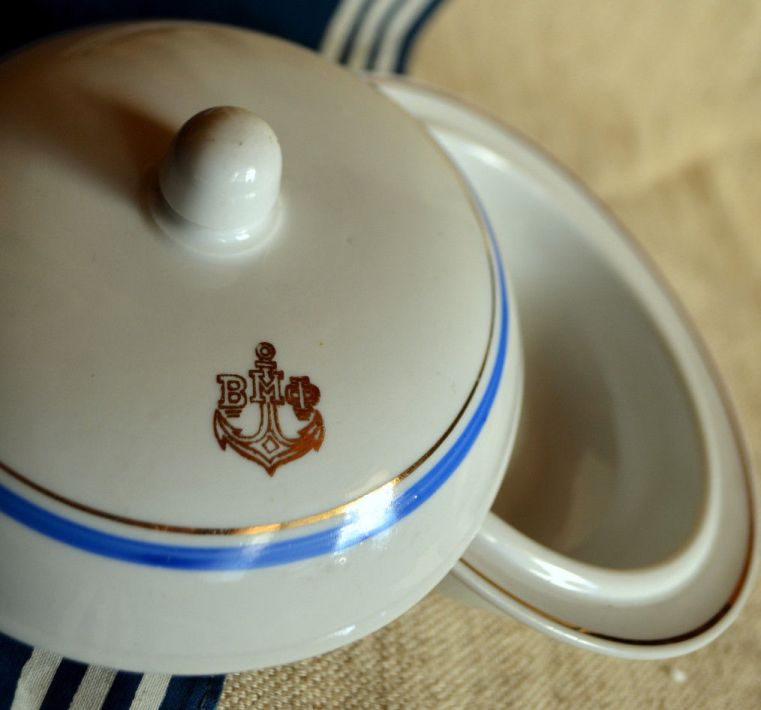 russian or soviet navy Covered Bowl with Anchor and VM