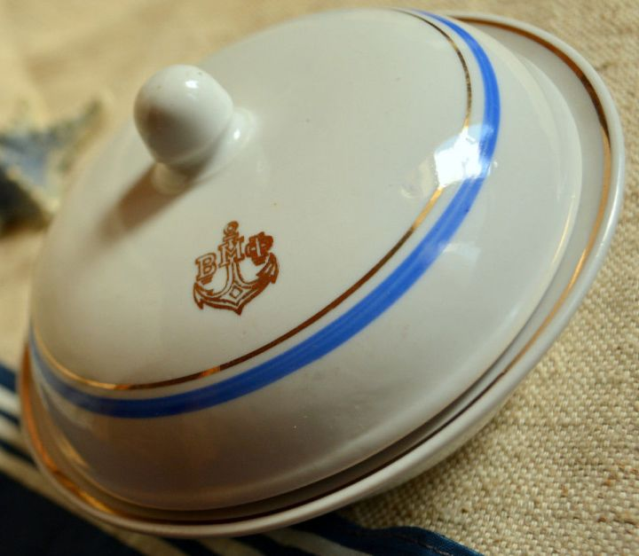 russian or soviet navy Covered Bowl with Anchor and VMF