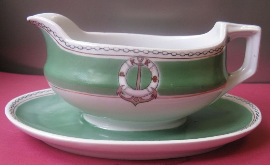 1920s 1930s Red Fleet or Russian Red Navy Border Guards Gravy Boat with RKKF Insigina