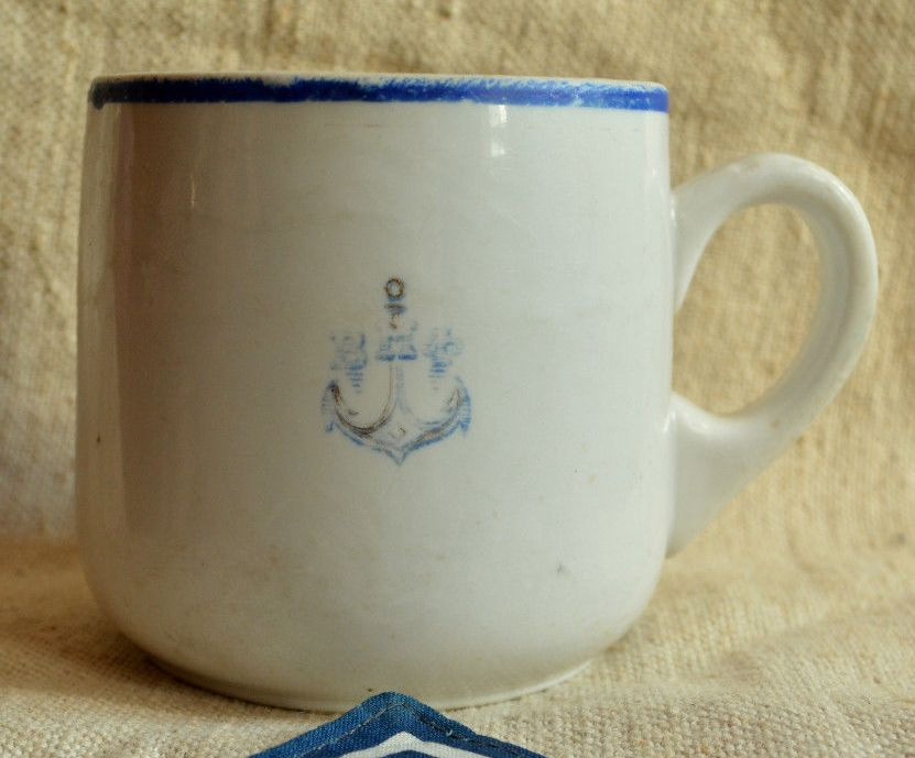 Post WWII Cold War Soviet Russian Navy Mug or Cup with Anchor and VMF