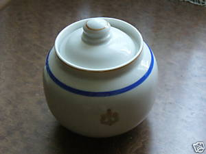 Post WWII Cold War Soviet Russian Red Navy Round Ball-like Sugar Bowl
