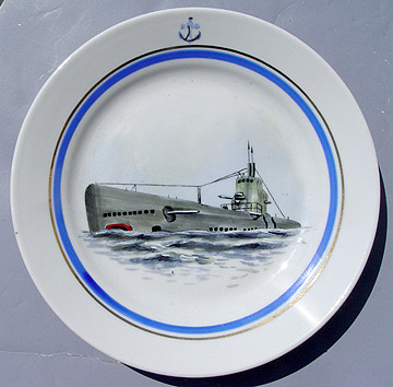 Post WWII Cold War Soviet Russian Red Navy Salad Plate with Painted Submarine