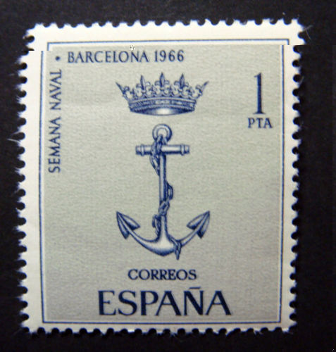 spanish navy postage stamp showing crown and fouled anchor