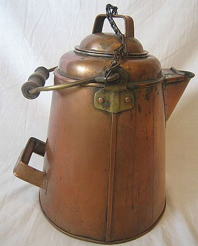 1890s to early 1900's 9 Quart Brass and Copper Coffee Pot Mess