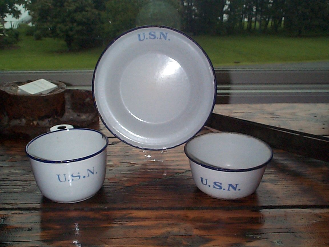 Navy Enlisted Mess Deck White Porcelain on Metal Graniteware plate, Bowl, Cup and flatware