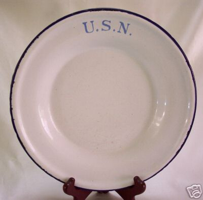 Navy Enlisted Mess Deck White Porcelain on Metal Graniteware Plate