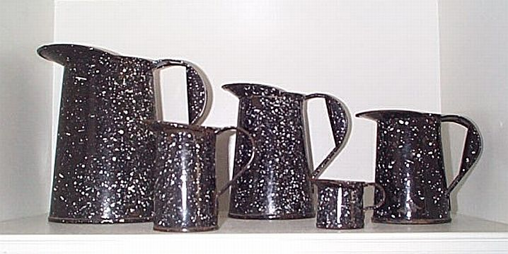 5 Piece Complete Set of Navy Granitware Measuring Pitchers or Cups