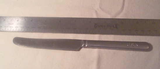 U.S. Navy Stainless Steel Enlisted Knife with Engraved USN on Handle