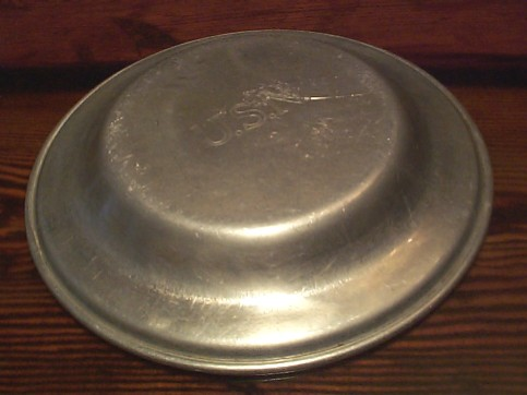 Bottom View of US Navy Enlisted Sailors Aluminum Mess Plate - NOTE: USN