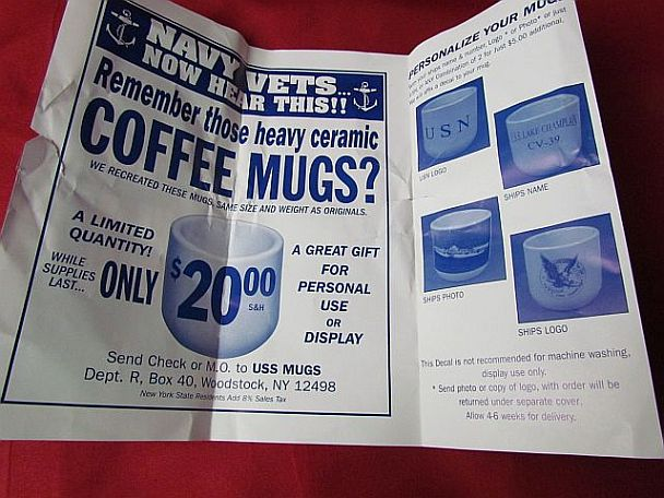 Fake Reproductions of USN enlisted White Large Handless Mug for All Dinners and Watchstanding)