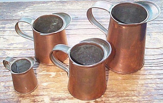 3 Piece Set of Navy Copper Measuring Pitchers or Cups