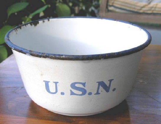 Navy Enlisted Mess Deck White Porcelain on Metal Graniteware Bowl  1890s TO 1900s SpanAm War to Great White Fleet