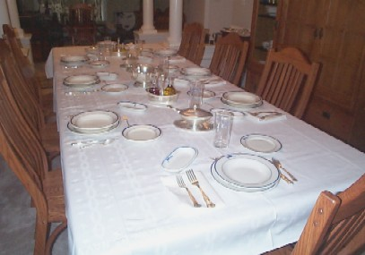 Formal Dining In Ceremony Table Setting With Navy Issued China And Silverware