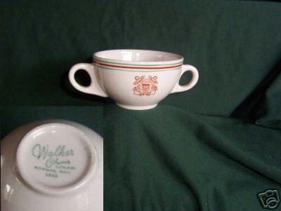 uscg coast guard two handled bouillon cup, burgundy and green stripes
