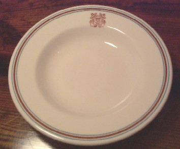 RARE uscg coast guard cereal bowl, burgandy and green stripes