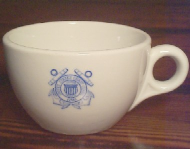 uscg coast guard white coffee cup or tea cup, blue insignia 1925-1940