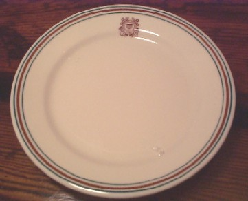USCG Coast Guard China, Dinner Plate burgandy and green