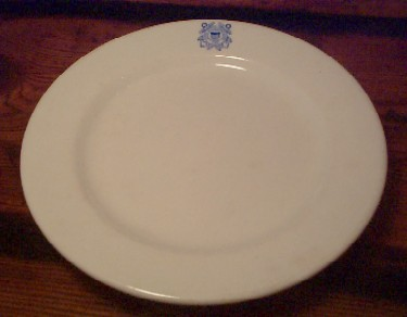 uscg coast guard white dinner plate, blue insignia dated 1942