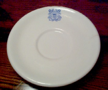 USCG Coast Guard China white saucer, blue insignia