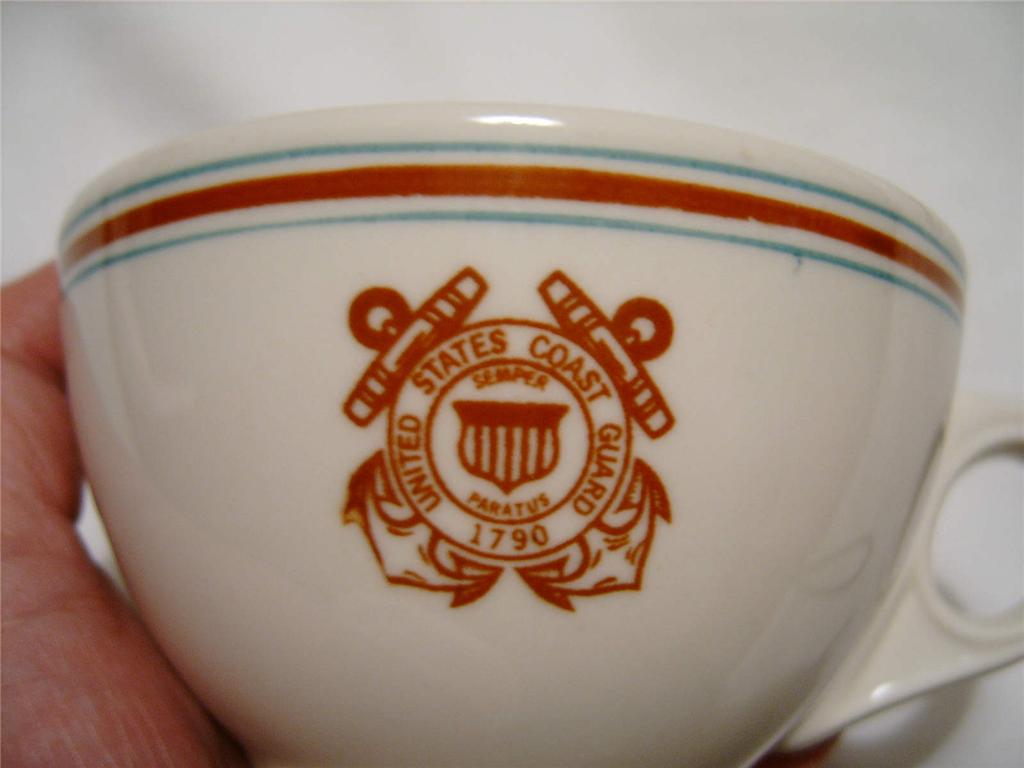 uscg coast guard formal coffee cup, burgundy and green stripes, ca 1970's Vietnam era
